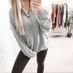 Vintage Oversized Chunky Knit Henley Sweater Grey